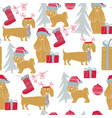 christmas dog seamless pattern vector image vector image