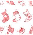 christmas red socks stylized stockings set of vector image