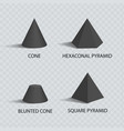 cones and pyramids set black prisms color banner vector image vector image