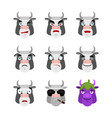 cow set emoji avatar sad and angry face guilty vector image vector image