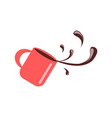 cup with coffee spilling vector image