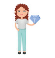 cute woman with luxury diamond character vector image