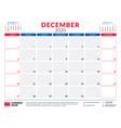 december 2020 calendar planner stationery design vector image