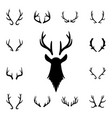 deer s head and antlers set design elements of vector image