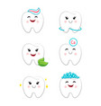 dental hygiene set with teeth clean icons vector image vector image