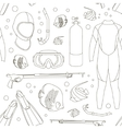 Diving equipment pattern vector image