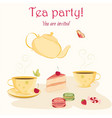 elegant tea party invitation template with teacups vector image
