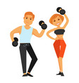 fitness boy and girl doing exercises with vector image vector image