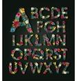 Flower alphabet Colorful font Uppercase vector image