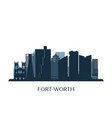 fort worth skyline monochrome silhouette vector image vector image
