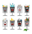 garbage cans with trash for kids vector image