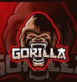 gorilla mascot logo esport vector image