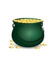 green leprechaun pot full of gold vector image