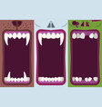 halloween monster mouth banners set vector image vector image
