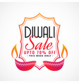 happy diwali sale banner with decorative diya vector image