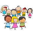 happy kids cartoon characters group vector image vector image