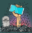 happy smartphone zombie hand from grave vector image
