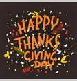 happy thanksgiving day greeting card flying paper vector image