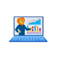 humanised lion present business lecture at laptop vector image vector image