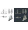 large sailing ship drawings with sails down vector image vector image
