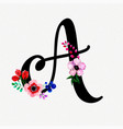 Letter a watercolor floral background
