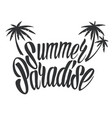 monochrome summer paradise lettering template vector image