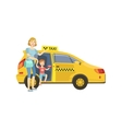 Mother With Daughter Entering Yellow Taxi Car vector image vector image