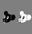 mouse cartoon face head black white vector image vector image