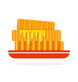 pile honeycombs on a plate flat isolated vector image vector image