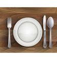 Plate spoon knife and fork on wood vector image