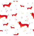 seamless pattern with red dog and heart vector image vector image