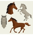 Set of horses different poses in flat style vector image vector image
