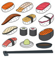 set of rice with raw fish sushi vector image vector image