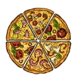 Set slice pizza Pepperoni Hawaiian Margherita vector image vector image