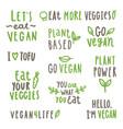 set vegan text labels vector image vector image