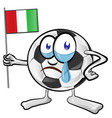soccer ball cartoon with italian flag vector image vector image