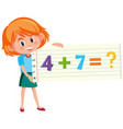 solve math addition question vector image vector image