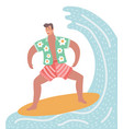 surfer character on surfboard vector image vector image