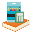 text book school and colors pencils box supplies vector image vector image