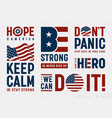 usa patriotic motivation typography and logos set vector image
