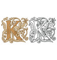 vintage initial letter k with baroque decoration vector image vector image
