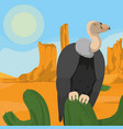 vulture on desert vector image vector image