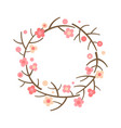 decorative spring wreath frame from blooming vector image