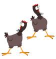 funny cartoon big eyed chicken vector image