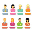 Set flat icons of business people vector image