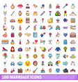 100 marriage icons set cartoon style vector image vector image