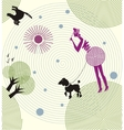 A lady skips dog on a leash and looking in the vector image