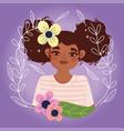 afro american woman cartoon flowers portrait vector image vector image