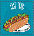 appetizing hot dog in handmade cartoon style vector image vector image