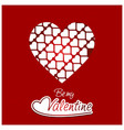 be my vlaentine with red pattern background vector image vector image